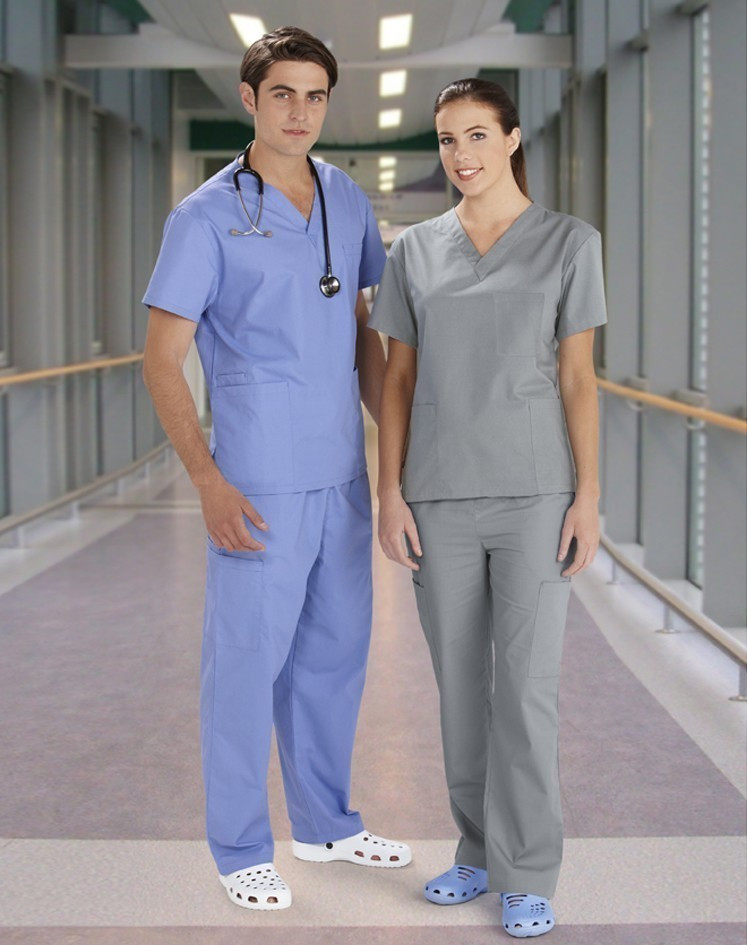 Unisex Scrubs by Biz Collection - Colours shown are Mid Blue and Pewter